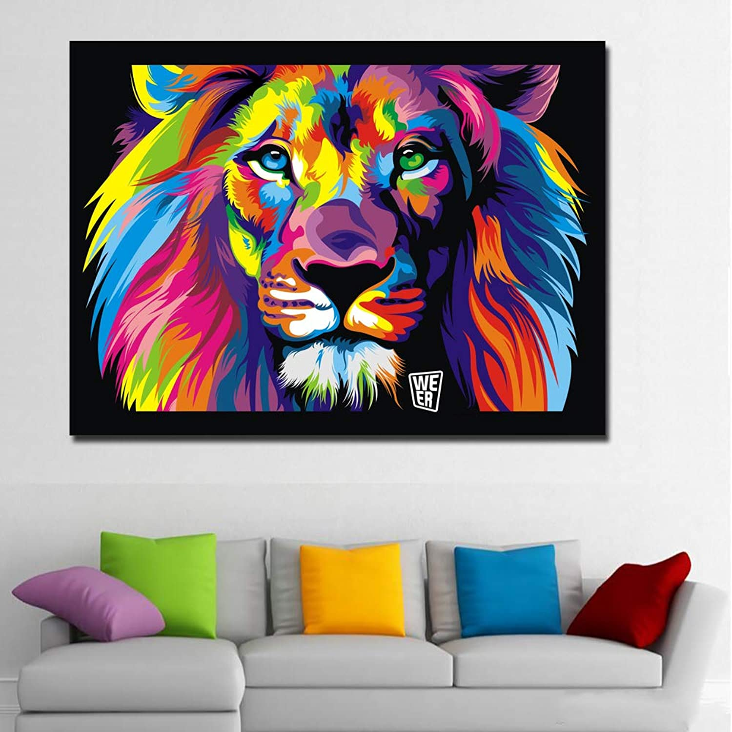 W15Y8 Hd Print Pop Art colorful Lion Abstract Animals Oil Painting On Canvas Modern Wall Art Picture For Kid Room Poster Cudros Decor 70X95Cm No Frame