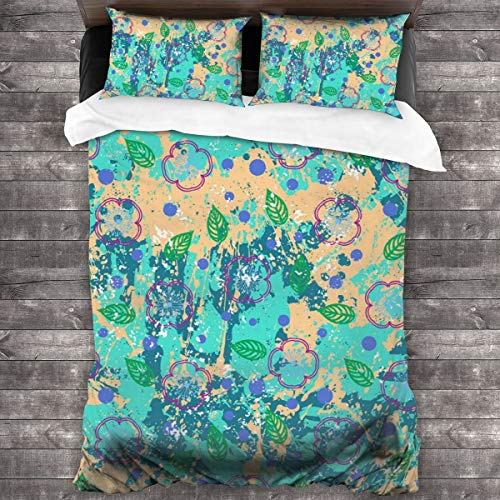 3-Piece Bedding Set Floral Grunge Pattern With Ditsy Flowers 100% Natural Polyester,1 Duvet Cover And 2 Pillowcases,Ultra Soft And Breathable