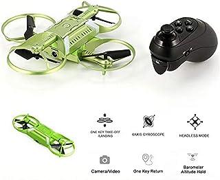 Cámara drone Dron remoto Quadcopter 720P HD Posicionamiento de antena Módulo portátil Inducción Aeronaves Brazos plegables Modo sin cabeza Regreso con una tecla Control fácil, Verde mini drone con