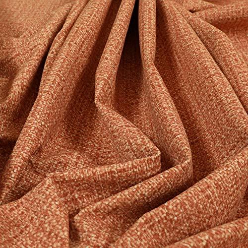 Yorkshire Fabric Shop Funda Suave con Textura patrón decoración Cortinas de Terciopelo Naranja impresión Interior Telas para tapicería (por Metro)