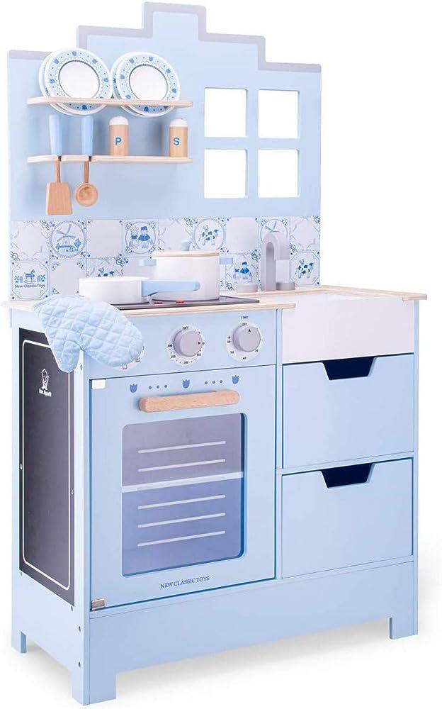 New classic toys kitchenette,cucina accessiorita per bambini, in legno 11069