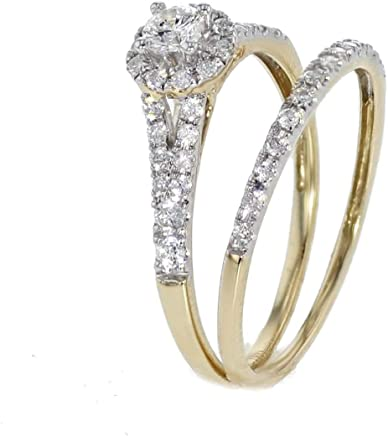 Diamond Ring Set Yellow Gold Halo Diamond Engagement Ring and Wedding Band Set 1/2ctw