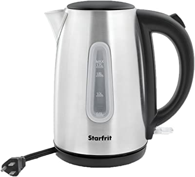 Starfrit 024010-006-0000 1.8-Quart Stainless Steel Electric Kettle, Silver/Black, One Size