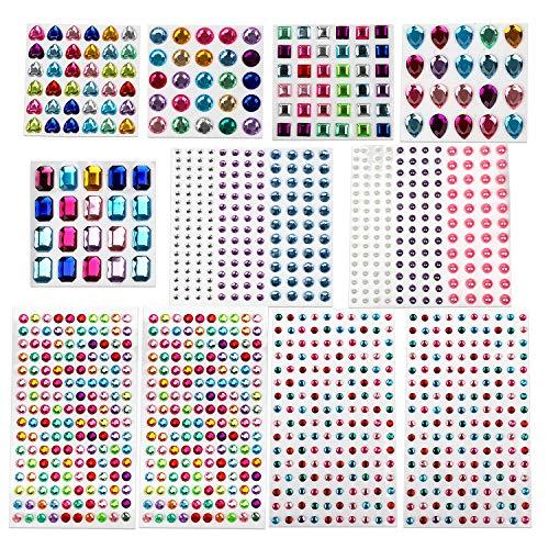 MOKIU Glitzersteine selbstklebend Strasssteine Schmucksteine Klebesteine zum Aufkleben und Basteln bunt 1121 Formen