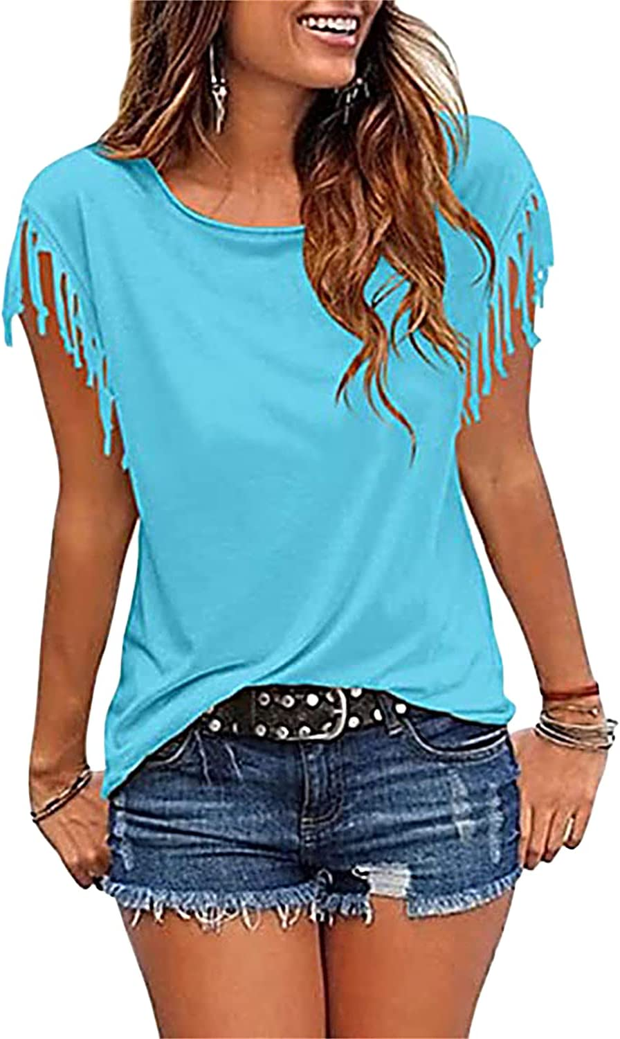Fringed Short Sleeve Tops for Women Tassel Fashion Solid Color Tunic T-Shirt Casual Loose Fit Round Neck Tee Blouse (Light Blue,Small)