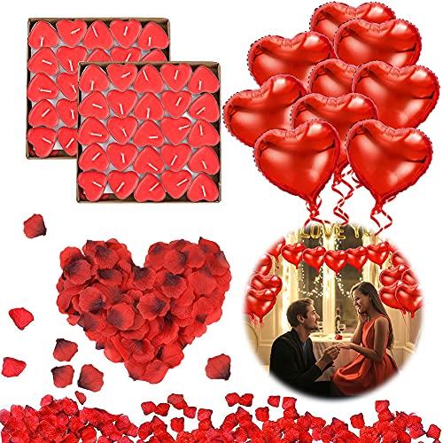 DASIAUTOEM Bougies Romantiques Set, 1000 pièces pétales de rose rouge 50 Bougies en Forme de Coeur 10 Amour Coeur Feuille de Ballons pour Mariage Saint Valentin D'anniversaire Fiançailles Table Décor