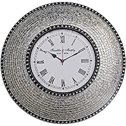 DecorShore 22.5 Silver, Handmade Glass Mosaic Wall Clock, Quiet Motion Design