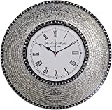 DecorShore 22.5' Silver, Handmade Glass Mosaic Wall Clock, Quiet Motion Design