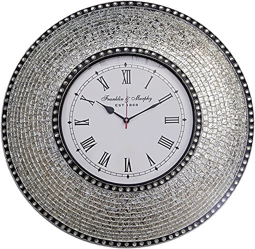 DecorShore 22.5' Silver, Handmade Glass Mosaic Wall Clock,...