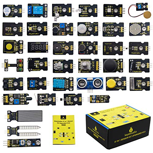 KEYESTUDIO 37 in 1 Sensor Kit 37 Sensors Modules Starter Kit for Arduino Raspberry Pi Programming Project, Electronics Components STEM Education Set for Kids Teens Adults + Tutorial