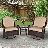 LETATA 3-Pieces Patio Wicker Bistro Furniture Set with Cushioned Swivel Rocking Chairs Side Table Outdoor Rattan Conversation Sets