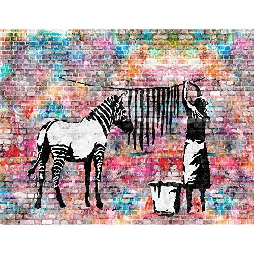 Tapeten Fototapeten Washing Zebra Banksy - Vlies Wand Tapete Wohnzimmer Schlafzimmer Büro Flur Dekoration Wandbilder XXL Moderne Wanddeko - 100% MADE IN GERMANY - 9388010c