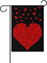WIHVE Valentine's Day Garden Flag 12 x 18 Inch, Love Dancing Red Heart House Flag Double Sided Decorative Outdoor Banner for Wedding Anniversary Home Garden Yard Decor …