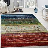 Paco Home Alfombra De Diseño Gabbeh Nómada Loribaft Contorneada Multicolor Roja Crema Verde Y Azul, tamaño:160x230 cm