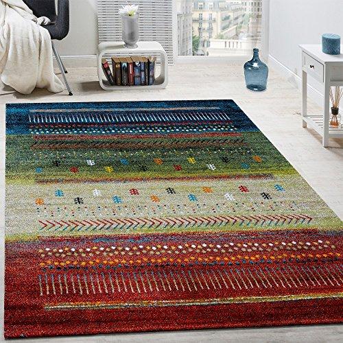 Tappeto di Design Gabbeh Loribaft Bordature Nomadi Multicolore Rosso Crema Verde Blu, Dimensione:160x230 cm