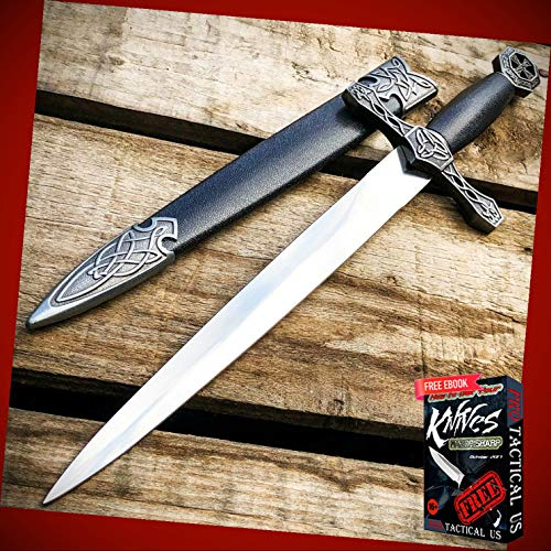 New 15.75' inch Dark Knight Celtic Cross Dagger Medieval Fixed Blade Short Sword ProTactical Knife BA-0960kn + Free eBook by PrTac-US