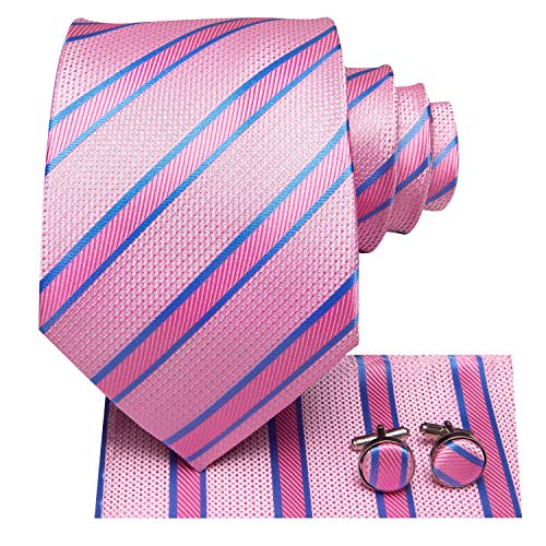 Hi-Tie Pink and Blue Stripe Tie with Handkerchief Cufflinks
