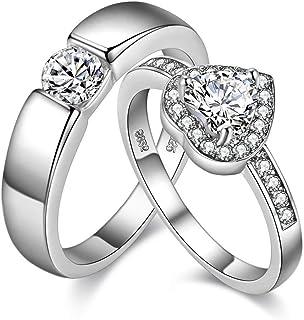 Uloveido زوج من لديه ولها ولها خاتم الخطوبة مطلي بالبلاتين قلب الزفاف الخطوبة للنساء والرجال عيد الحب هدايا الأزواج J002M