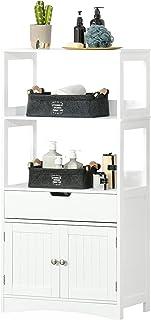 kleankin Armario de Baño con 3 Estantes Cajón y 2 Puertas Mueble de Almacenamiento de Suelo Moderno para Cocina Dormitorio...