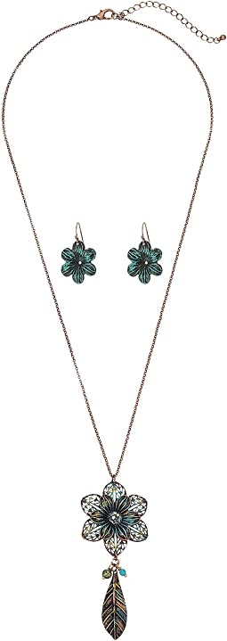 M&F Western - Flower Necklace/Earrings Set