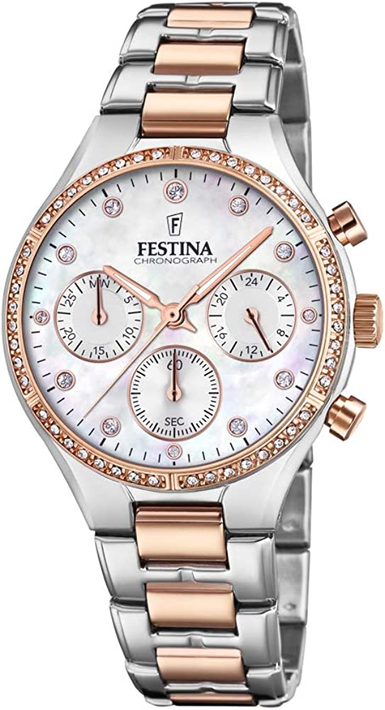 Festina orologio cronografo da donna in acciaio  quadrantre in madreperla con lancette in oro rosa e zirconi F20403/1