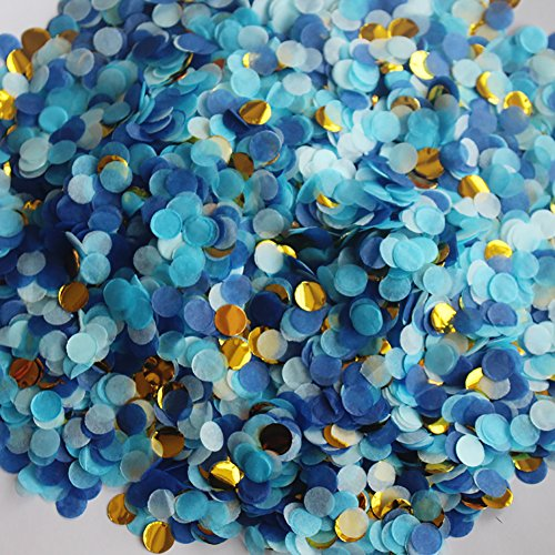 Small Circle Confetti for Party Decor 10mm - Pack of 20 Grams - Blue Gold