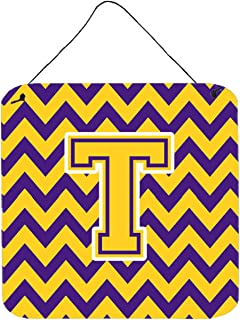 """Caroline's Treasures CJ1041-TDS66 Letter T Chevron Purple and Gold Wall or Door Hanging Prints, Multicolor, 6"""" H x 6"""" W"""
