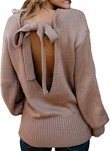 kasonj Mujer Jersey de Punto Suéter Espalda Abierta Jersey de ...