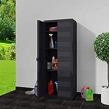 MOUYOU Waterproof Outdoor High Cabinet 65 x 38 x 171 cm Garden Cabinet with 2 Doors and 3 Adjustable Ventilated Shelves, P...