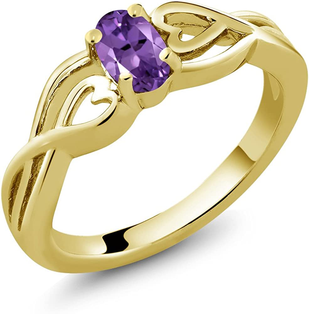 Gem Stone King 0.35 Ct Oval Amethyst Plat Yellow Challenge the lowest price of Japan All items free shipping 18K Gold Purple