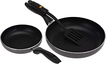 Royalford Stainless Steel Fry Pan with Nylon Turner 3 Piece Set, Black