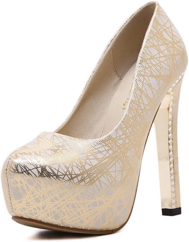 1TO9 Womens Stripes Chunky Heels Platform gold Urethane Pumps shoes - 6.5 B(M) US