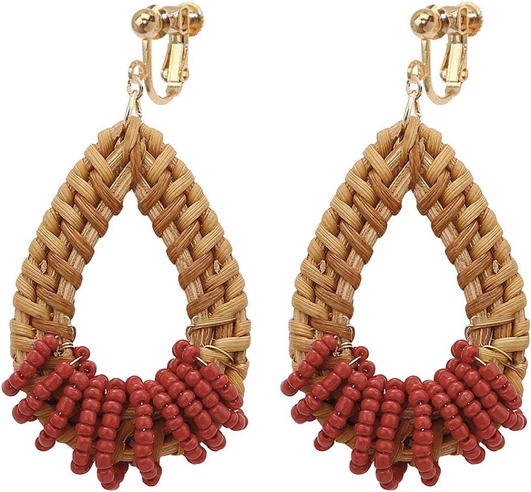 Sojewe Dainty Seed Beaded Wrapped Rattan Clip on Earrings for Women and Girl Jewelry Hand Woven Lightweight Straw Wicker Braid Ethnic Statement Geometric Oval Dangle Water Drop Non Pierced Ears