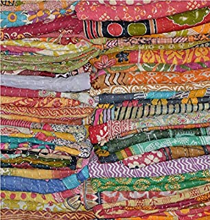 Marudhara Fashion Wholesale Lot 5 PCs Indian Tribal Kantha Quilt Vintage Handmade Blanket Patch Kantha Throw Hippie Bohemian Old Saree Made Kantha Rally Twin By