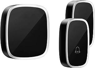 Draadloze deurbel waterdicht huis LED-licht AC 100-260V 36 Ring Tunes 4 Volume Chime 2 Knoppen Wit Zwarte deurbel (Color :...