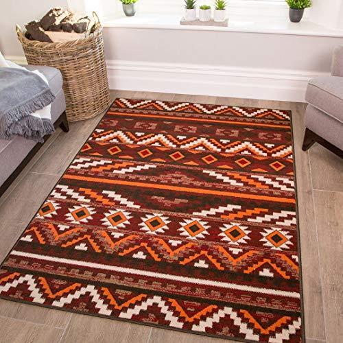 Terracotta Aztec Tribal Rug Orange Red Brown Cream Stripe Geometric Living Room Lounge Kitchen Bedroom