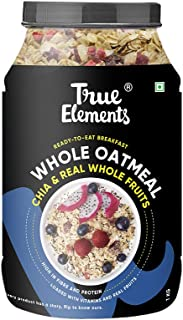 True Elements Whole Oatmeal with Chia and Fruits 1kg - Breakfast Cereal, Made with Rolled Oats, Healthy Food