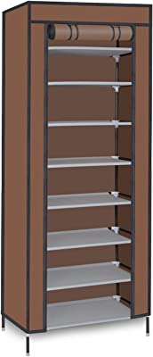 Smart Homez – Medium 9 Level Collapsible Tower Shoe Rack/Cabinet - Brown| Snap-Connect Steel Frame with Duralight Fabric Cover