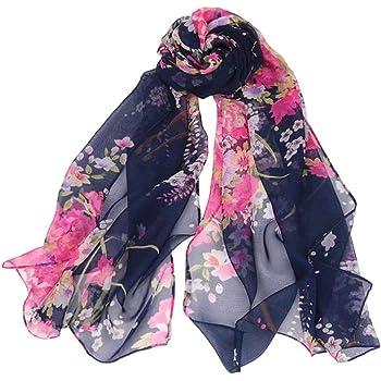 BNWT-Long Soft-Light Weight Floral Design Chiffon Scarf-180cm x 50cm