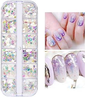 Eachbid 12 Tipos Caja Decoración de Uñas de Arte del Clavo Colorido Estilo de Sirena Brillante Chispas Diseño de Manicura