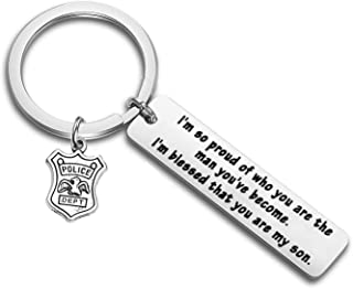 PLITI Achievement Gift Police Son Keychain I'm So Proud of Who You are Christmas Graduation Gifts from Mom