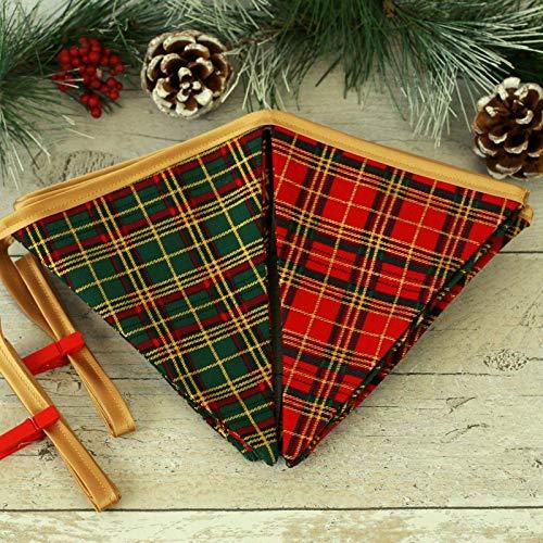 Tartan Christmas Bunting, Traditional Christmas Decoration, Xmas Home Decor, Seasonal Decor, Plaid Print Flags, Mantel Decor, Fabric Garland, Holiday Decor, Festive Accessory, Reversible Banner
