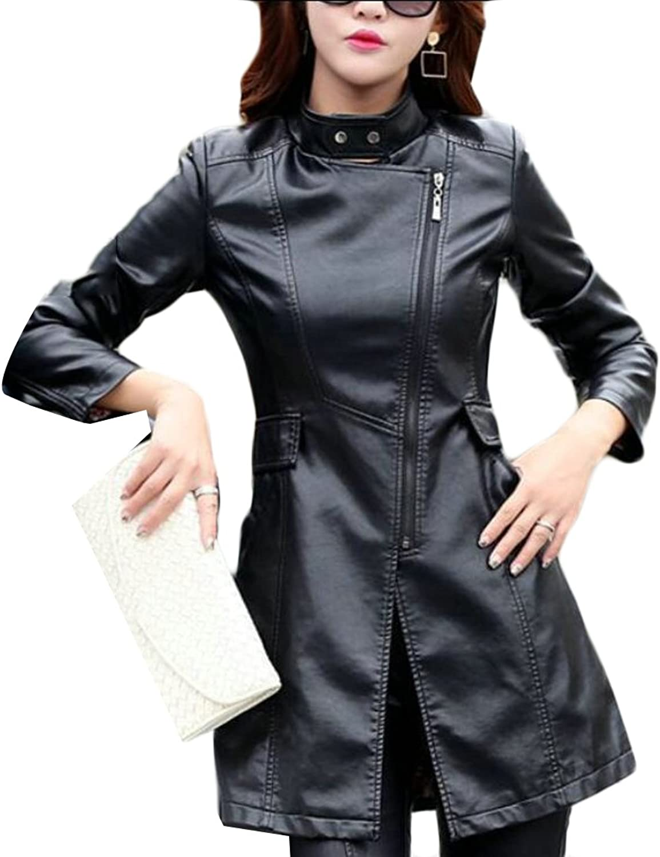 GAGA Women's Warm Standcollar Solid color Longsleeves Zipper PU Coat Jacket