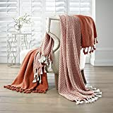 Amrapur Overseas | Monaco 100% Cotton Throw Blanket (Brick) 2 Pack