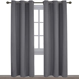 NICETOWN 3 Pass Microfiber Noise Reducing Thermal Insulated Solid Ring Top Blackout Window Curtains/Drapes (2 Panels,42 x 84 Inch,Gray)