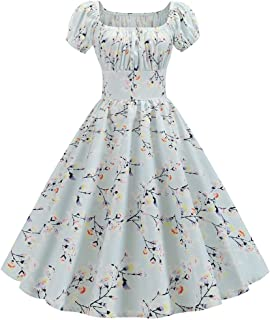 DIANEND 50s Dresses for Women, Vintage Elegant Short Sleeve Floral Print Square Neck Swing Dress Cocktail Rockabilly Evening Party Dress