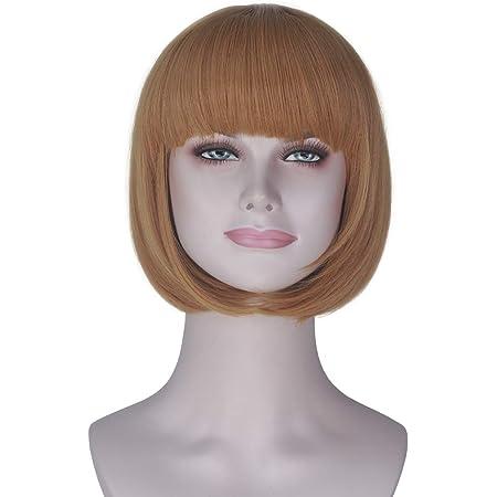 Amazon Com Miss U Hair Girl S Short Straight Harajuku Style Women Bobo Hair Anime Cosplay Party Wig Yellow Beauty