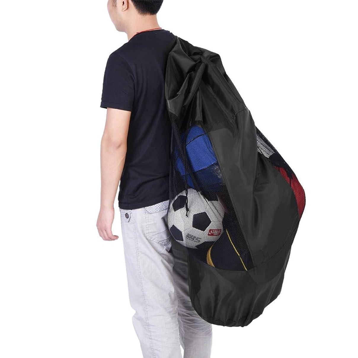 永遠にの量皮肉なボールバッグ 収納袋 バッグ メッシュ オックスフォード 防水防湿 大容量 丈夫 厚手のストラップ 持ち運び便利 バスケットボール/サッカー/バレーボール用 学校 部活 …