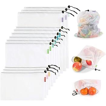 Eono by Amazon - Bolsas Compra Reutilizables Ecológicas Bolsa de Malla para Almacenamiento Fruta Verduras Juguetes Lavable y Transpirable 3 Diversos Tamaños, 12 Pcs (3L+6M+3S): Amazon.es: Hogar