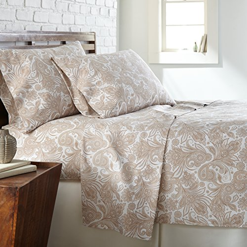 Southshore Fine Linens - Perfect Paisley Boho Collection 4 Piece Sheet Sets, Full, White with Taupe Paisley